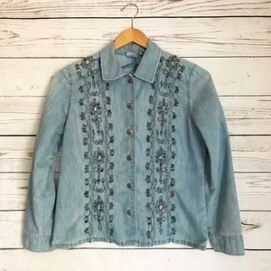 Chico's Denim Jean Jacket Embroidered Crystals